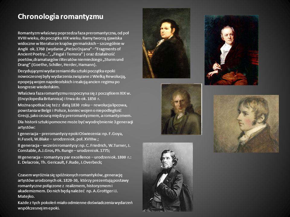 Chronologia romantyzmu Romantyzm właściwy poprzedza faza preromantyczna, od poł XVIII wieku, do początku XIX wieku. Ramy tworzą zjawiska widoczne w li
