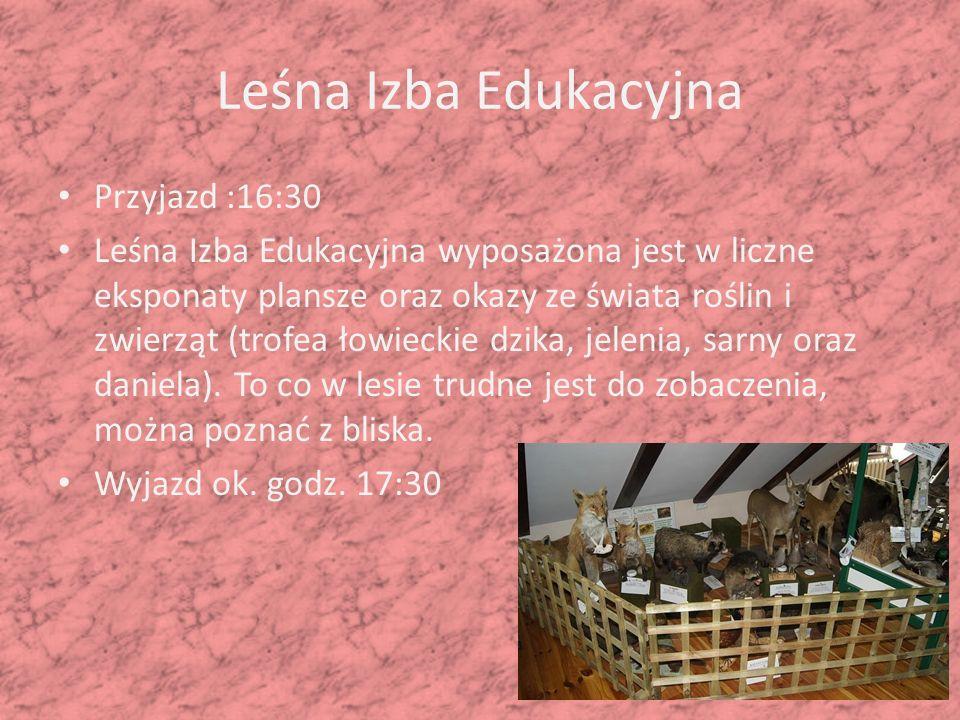 Leśna Izba Edukacyjna Przyjazd :16:30 Leśna Izba Edukacyjna wyposażona jest w liczne eksponaty plansze oraz okazy ze świata roślin i zwierząt (trofea