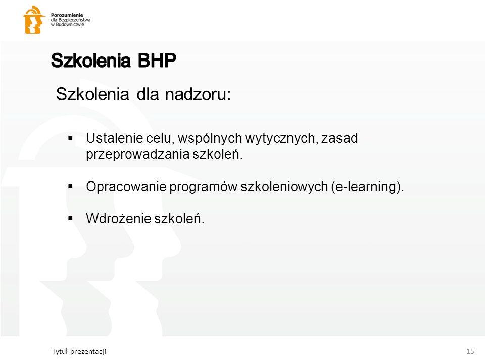 Tytuł prezentacji15 Szkolenia dla nadzoru: Ustalenie celu, wspólnych wytycznych, zasad przeprowadzania szkoleń. Opracowanie programów szkoleniowych (e