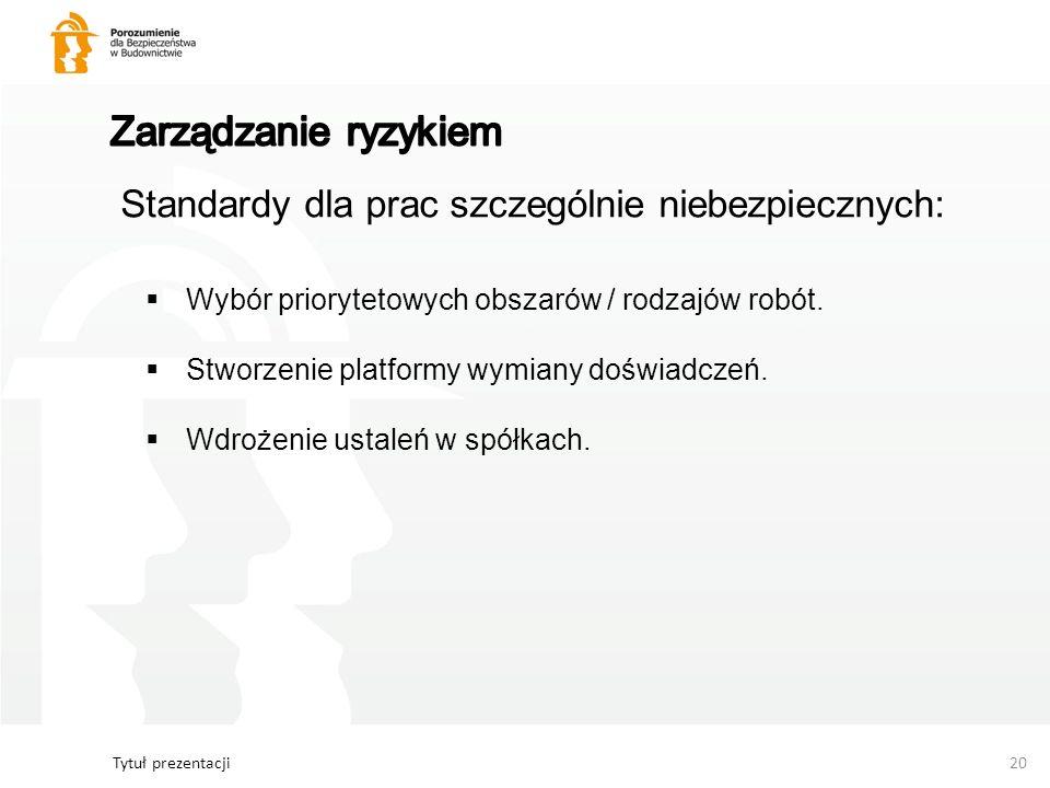 Tytuł prezentacji20 Standardy dla prac szczególnie niebezpiecznych: Wybór priorytetowych obszarów / rodzajów robót. Stworzenie platformy wymiany doświ