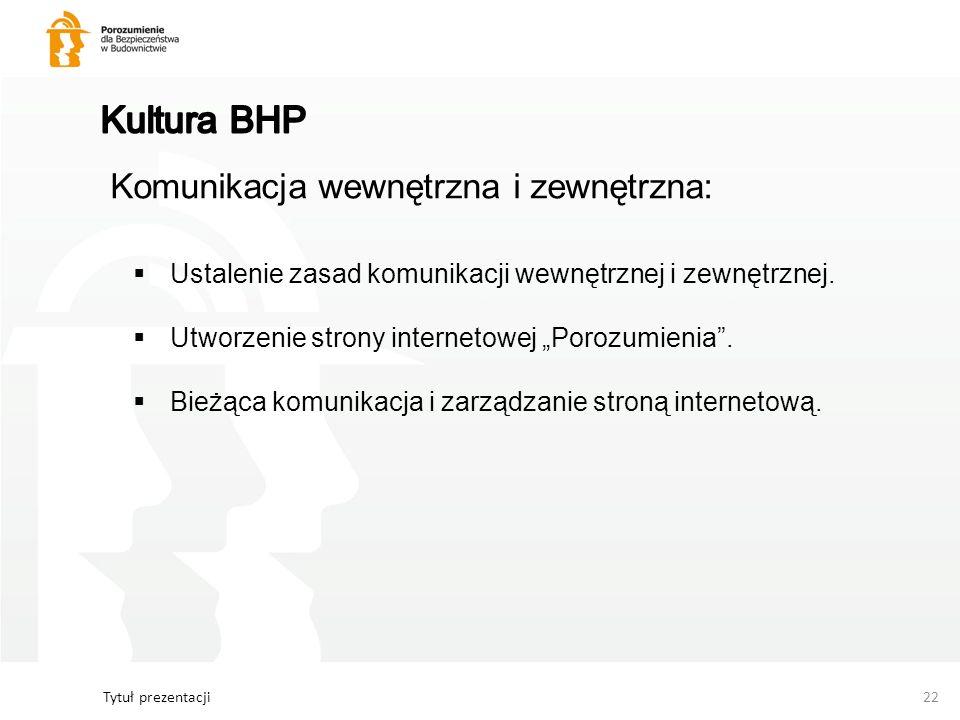 Tytuł prezentacji22 Komunikacja wewnętrzna i zewnętrzna: Ustalenie zasad komunikacji wewnętrznej i zewnętrznej. Utworzenie strony internetowej Porozum