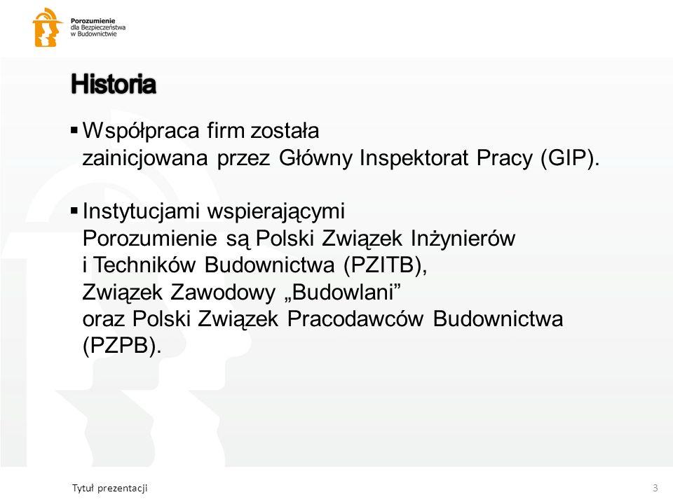Tytuł prezentacji3 Współpraca firm została zainicjowana przez Główny Inspektorat Pracy (GIP). Instytucjami wspierającymi Porozumienie są Polski Związe
