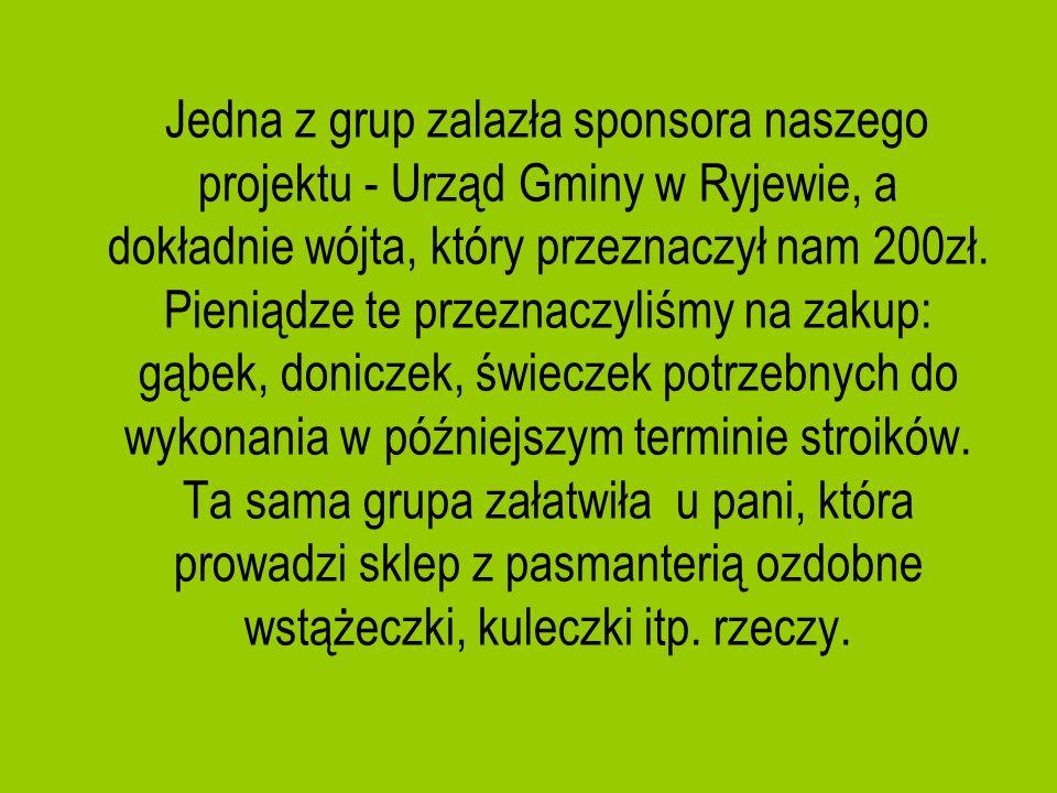 Jedna z grup zalazła sponsora naszego projektu - Urząd Gminy w Ryjewie, a dokładnie wójta, który przeznaczył nam 200zł. Pieniądze te przeznaczyliśmy n