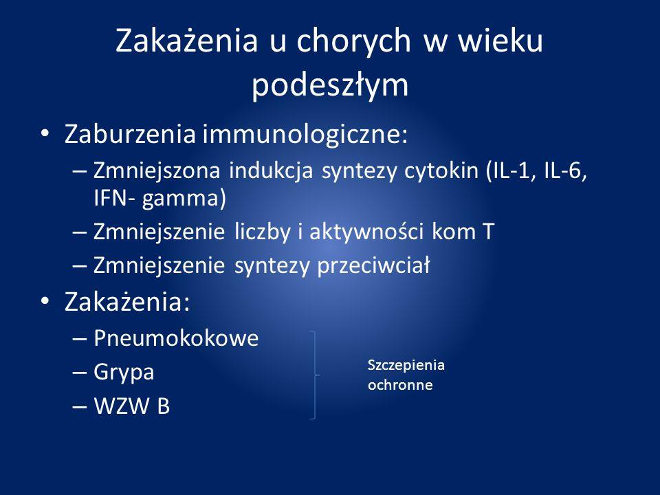 Zakażenia u chorych w wieku podeszłym Zaburzenia immunologiczne: – Zmniejszona indukcja syntezy cytokin (IL-1, IL-6, IFN- gamma) – Zmniejszenie liczby