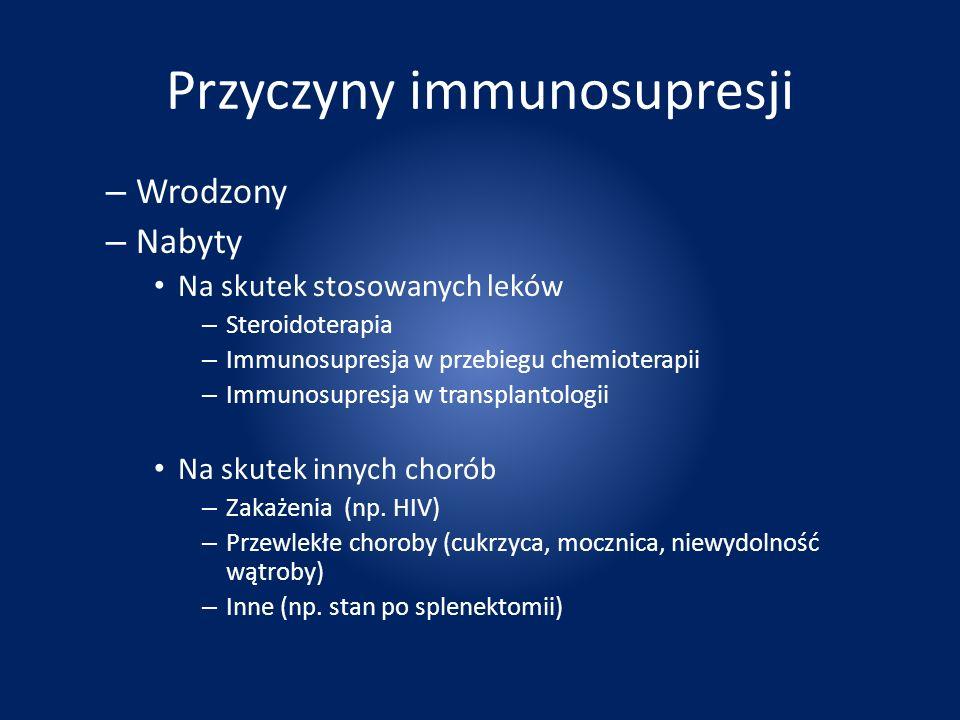 Przyczyny immunosupresji – Wrodzony – Nabyty Na skutek stosowanych leków – Steroidoterapia – Immunosupresja w przebiegu chemioterapii – Immunosupresja