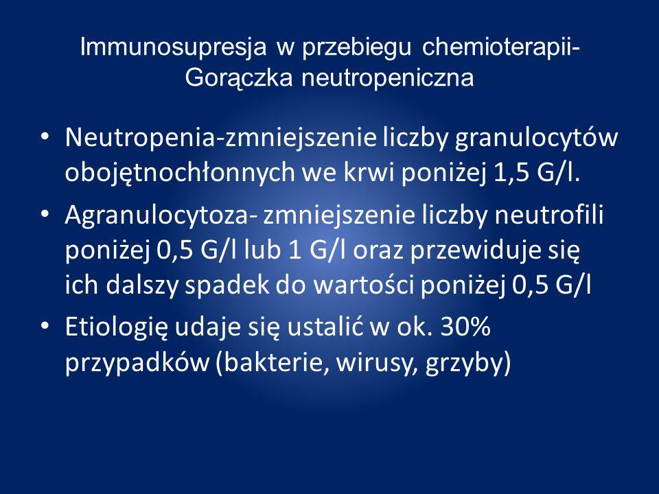 Gorączka neutropeniczna-postępowanie Neutrofile < 0,5 G/l0,5 G/l < neutrofile < 1,5 G/l piperacylina/tazobaktamamoksycylina ++ aminoglikozyd karbapenemamoksycylina/klawulonian + cefalosporyna III generacji + chinolon I rzut II rzut Po 6 dobach nieskutecznego leczenia jak wyżej, przy ujemnych posiewach bakteryjnych: amfoterycyna B- leczenie przez przynajmniej 10–14 dni III rzut Czynniki pobudzające rozwój kolonii granulocytowych (GCSF, granulocytecolony stimu lating factor) przyspieszają regenerację w neutropenii spowodowanej chemioterapią i radioterapią,