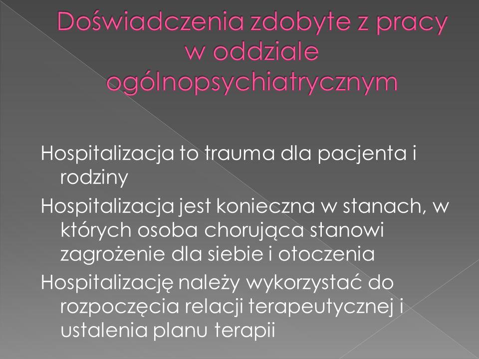 Hospitalizacja to trauma dla pacjenta i rodziny Hospitalizacja jest konieczna w stanach, w których osoba chorująca stanowi zagrożenie dla siebie i otoczenia Hospitalizację należy wykorzystać do rozpoczęcia relacji terapeutycznej i ustalenia planu terapii