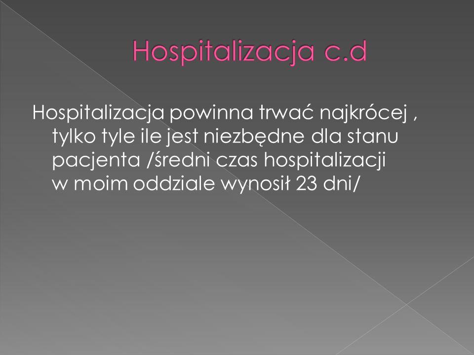 Hospitalizacja powinna trwać najkrócej, tylko tyle ile jest niezbędne dla stanu pacjenta /średni czas hospitalizacji w moim oddziale wynosił 23 dni/