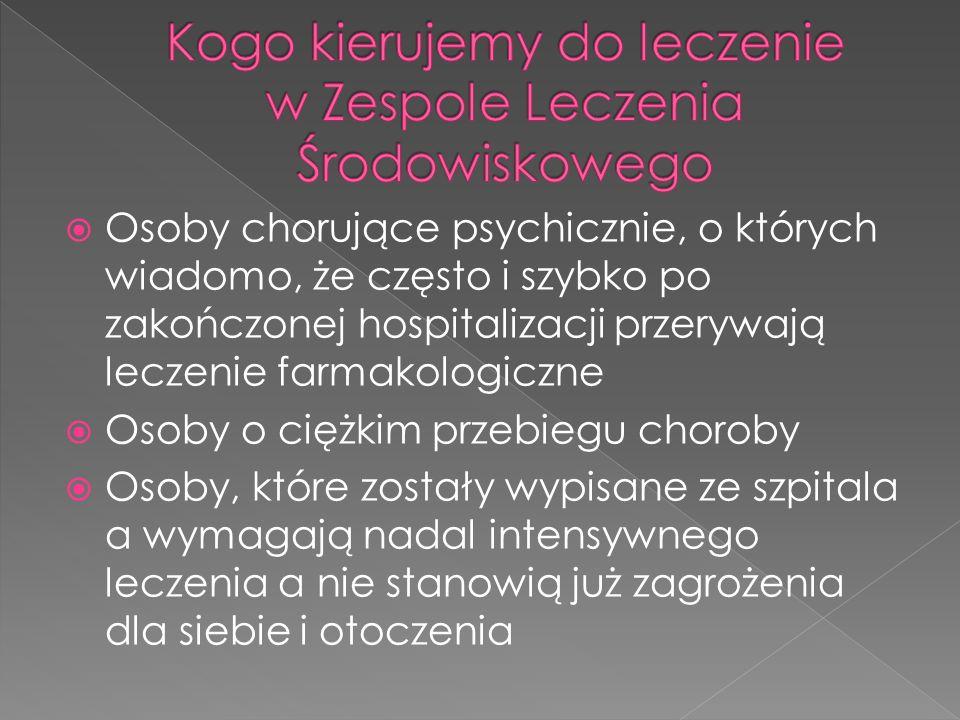 Osoby chorujące psychicznie, o których wiadomo, że często i szybko po zakończonej hospitalizacji przerywają leczenie farmakologiczne Osoby o ciężkim przebiegu choroby Osoby, które zostały wypisane ze szpitala a wymagają nadal intensywnego leczenia a nie stanowią już zagrożenia dla siebie i otoczenia