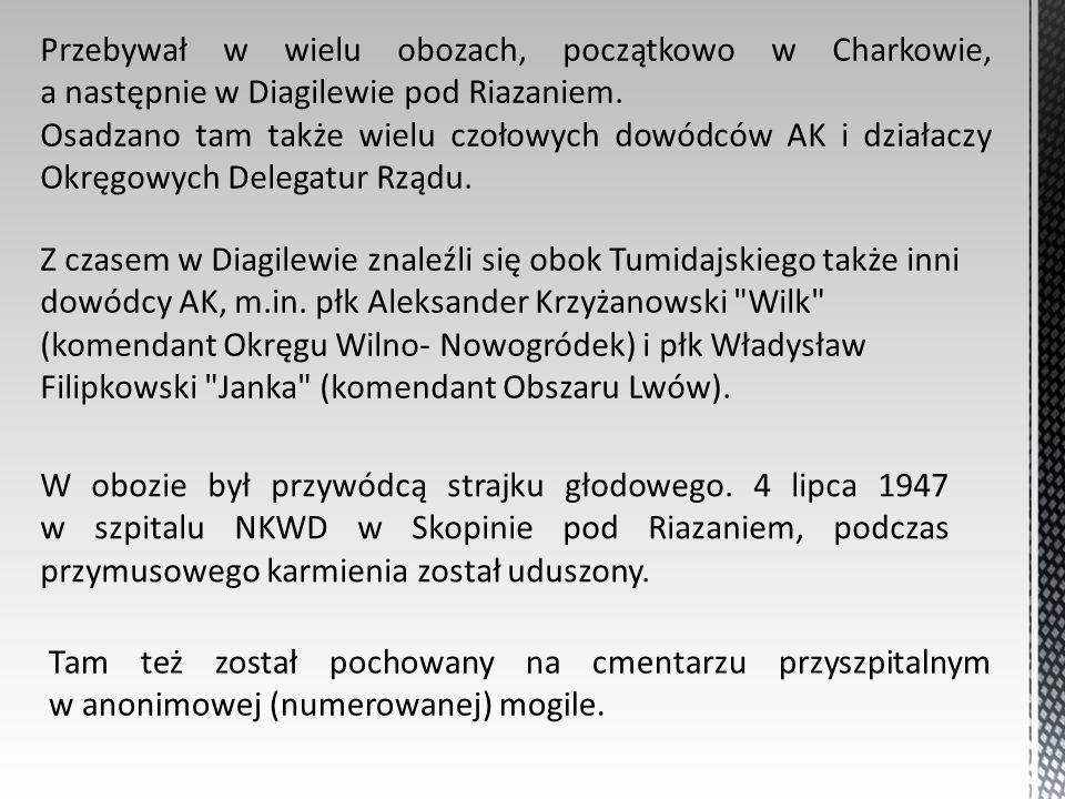 Przebywał w wielu obozach, początkowo w Charkowie, a następnie w Diagilewie pod Riazaniem. Osadzano tam także wielu czołowych dowódców AK i działaczy