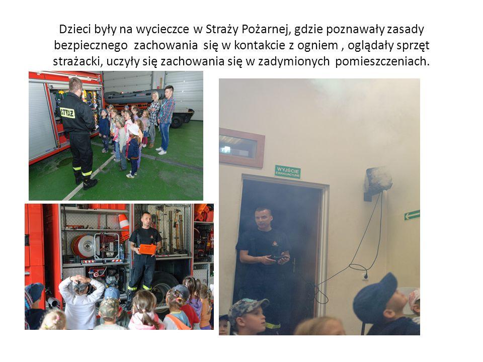 Dzieci były na wycieczce w Straży Pożarnej, gdzie poznawały zasady bezpiecznego zachowania się w kontakcie z ogniem, oglądały sprzęt strażacki, uczyły się zachowania się w zadymionych pomieszczeniach.