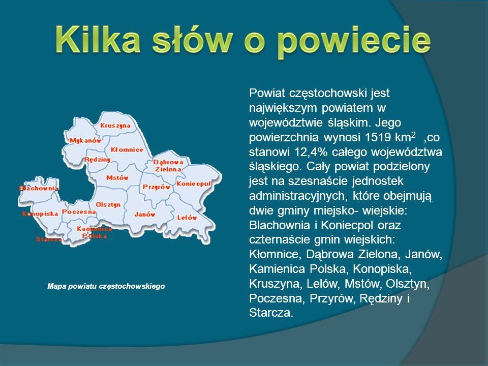 Powiat częstochowski jest największym powiatem w województwie śląskim. Jego powierzchnia wynosi 1519 km 2,co stanowi 12,4% całego województwa śląskieg