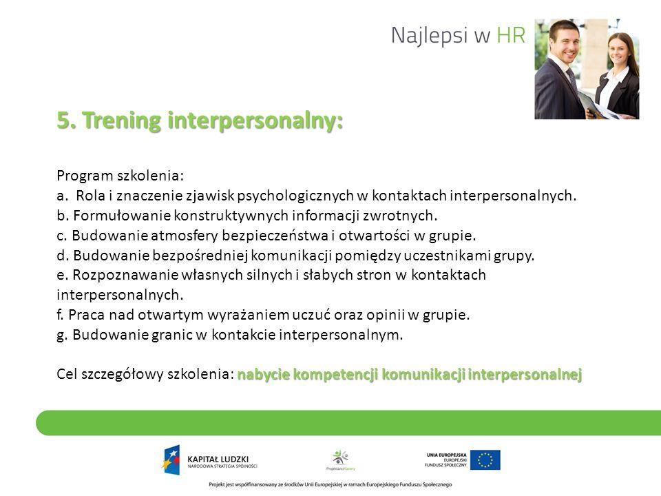 5. Trening interpersonalny: nabycie kompetencji komunikacji interpersonalnej 5. Trening interpersonalny: Program szkolenia: a. Rola i znaczenie zjawis