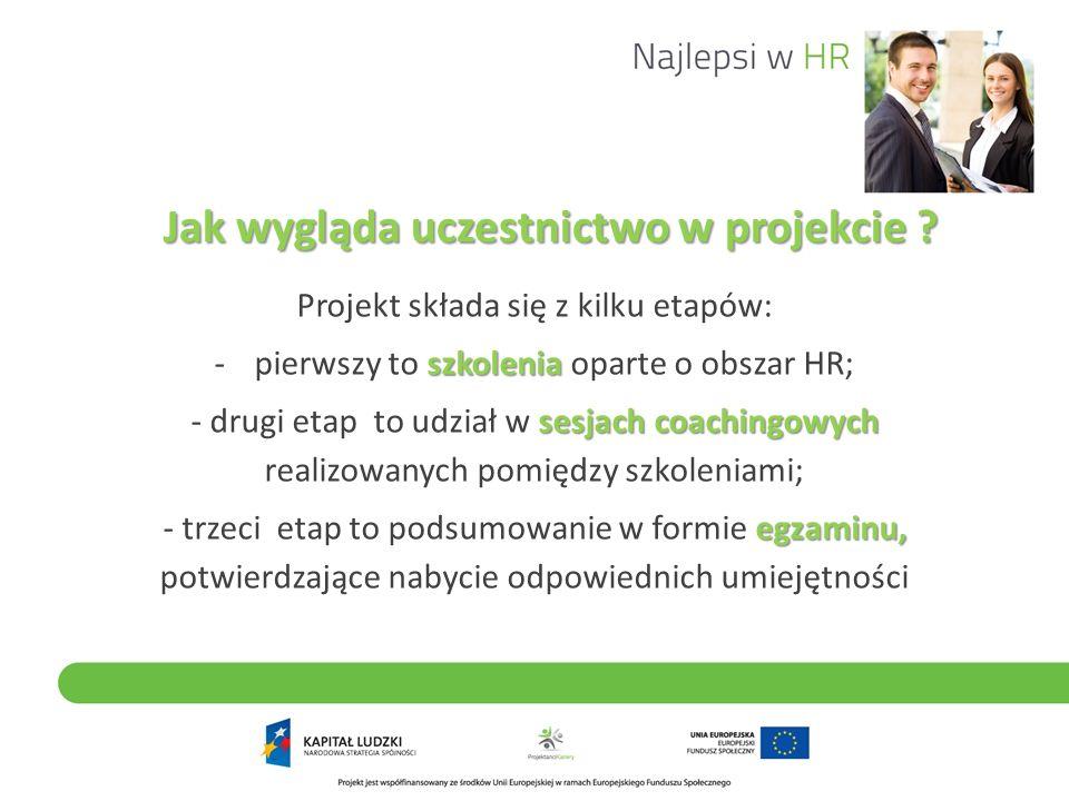 Jak wygląda uczestnictwo w projekcie ? Projekt składa się z kilku etapów: szkolenia -pierwszy to szkolenia oparte o obszar HR; sesjach coachingowych -