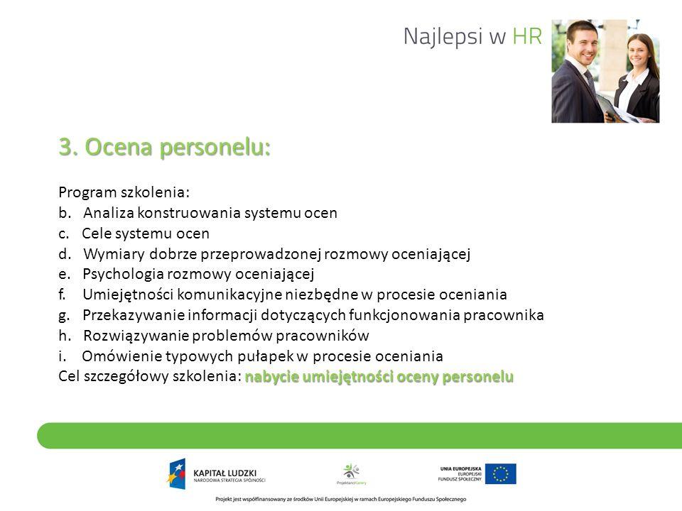 3. Ocena personelu: nabycie umiejętności oceny personelu 3. Ocena personelu: Program szkolenia: b. Analiza konstruowania systemu ocen c. Cele systemu