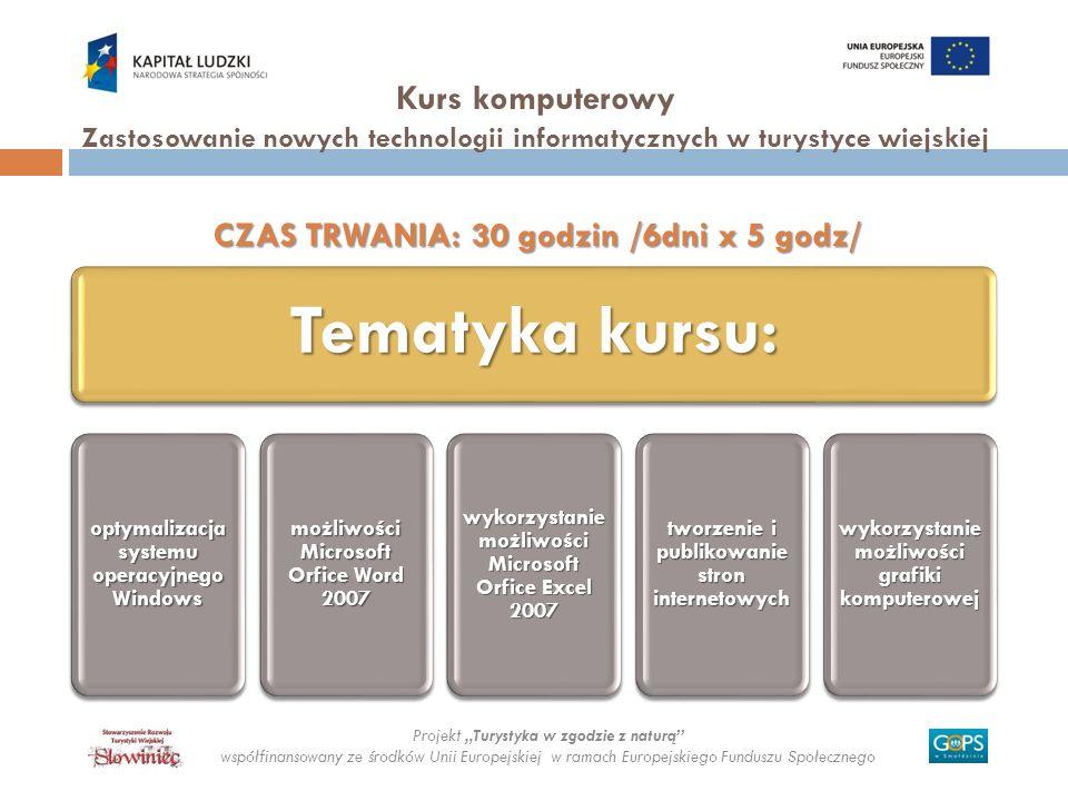 Projekt Turystyka w zgodzie z naturą współfinansowany ze środków Unii Europejskiej w ramach Europejskiego Funduszu Społecznego Kurs komputerowy Zastos