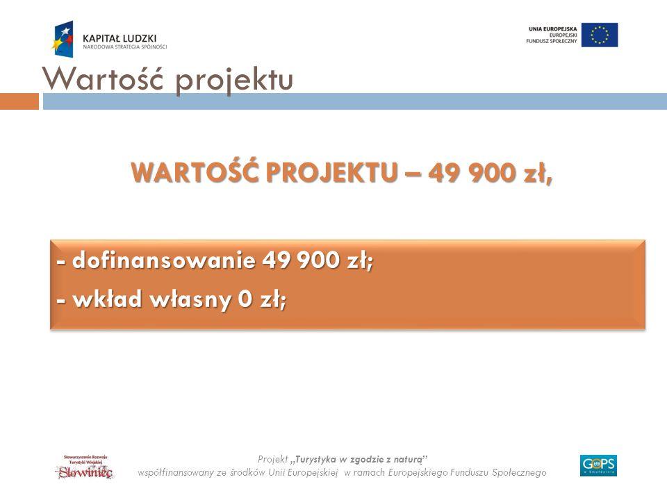 - dofinansowanie 49 900 zł; - wkład własny 0 zł; - dofinansowanie 49 900 zł; - wkład własny 0 zł; Projekt Turystyka w zgodzie z naturą współfinansowan