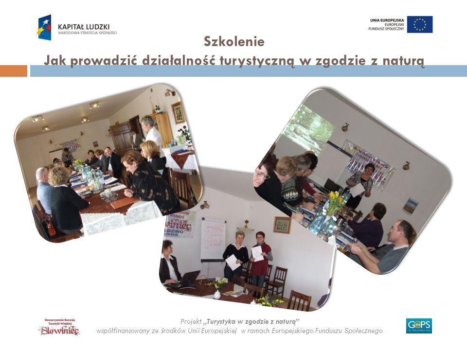 Projekt Turystyka w zgodzie z naturą współfinansowany ze środków Unii Europejskiej w ramach Europejskiego Funduszu Społecznego Szkolenie Jak prowadzić
