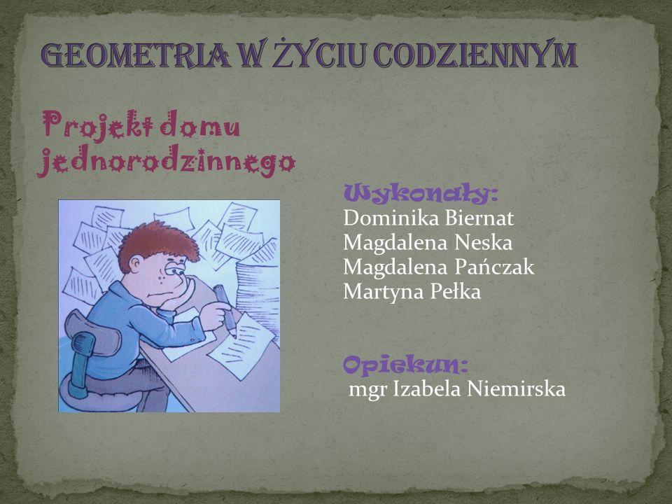 Projekt domu jednorodzinnego Wykonały: Dominika Biernat Magdalena Neska Magdalena Pańczak Martyna Pełka Opiekun: mgr Izabela Niemirska