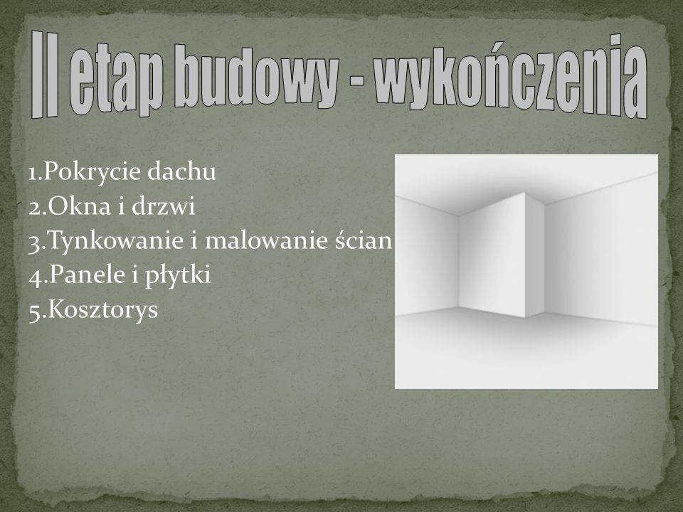 1.Pokrycie dachu 2.Okna i drzwi 3.Tynkowanie i malowanie ścian 4.Panele i płytki 5.Kosztorys