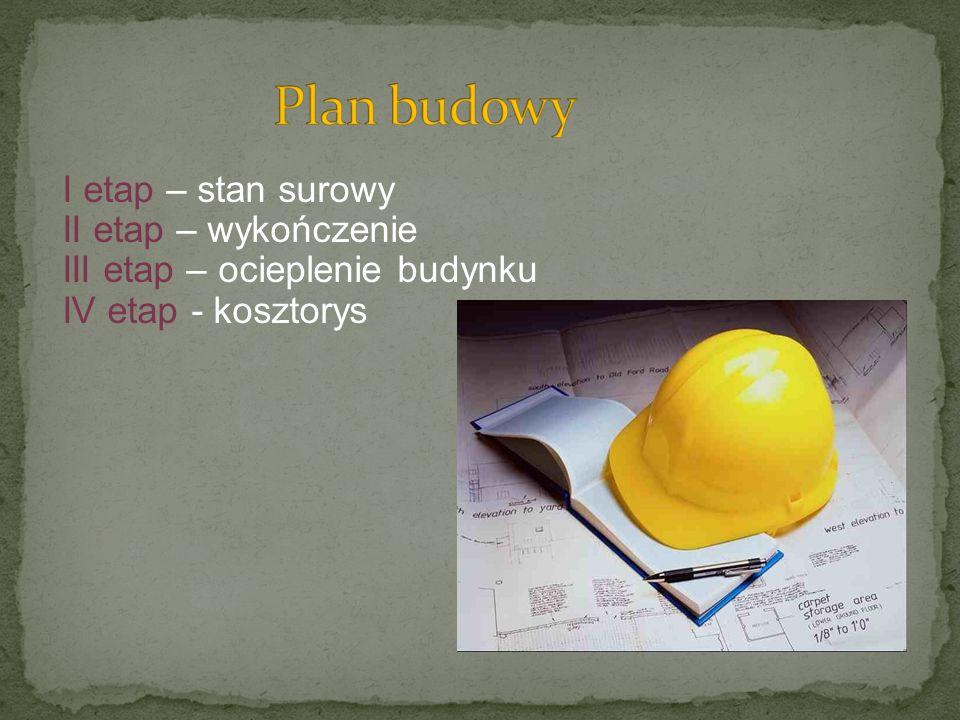 I etap – stan surowy II etap – wykończenie III etap – ocieplenie budynku IV etap - kosztorys