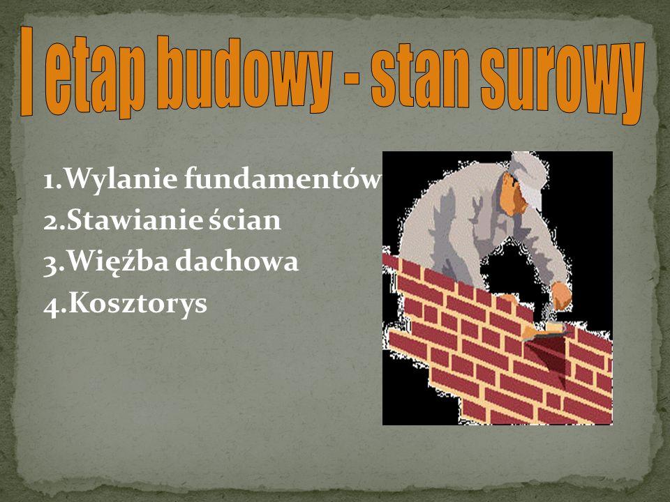 1.Wylanie fundamentów 2.Stawianie ścian 3.Więźba dachowa 4.Kosztorys