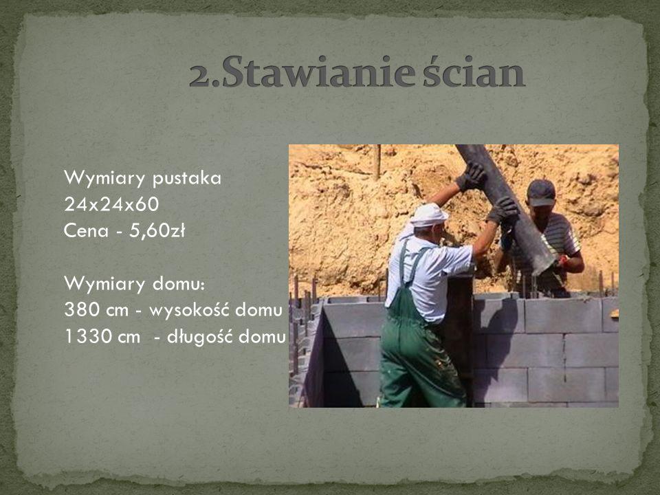 Wymiary pustaka 24x24x60 Cena - 5,60zł Wymiary domu: 380 cm - wysokość domu 1330 cm - długość domu