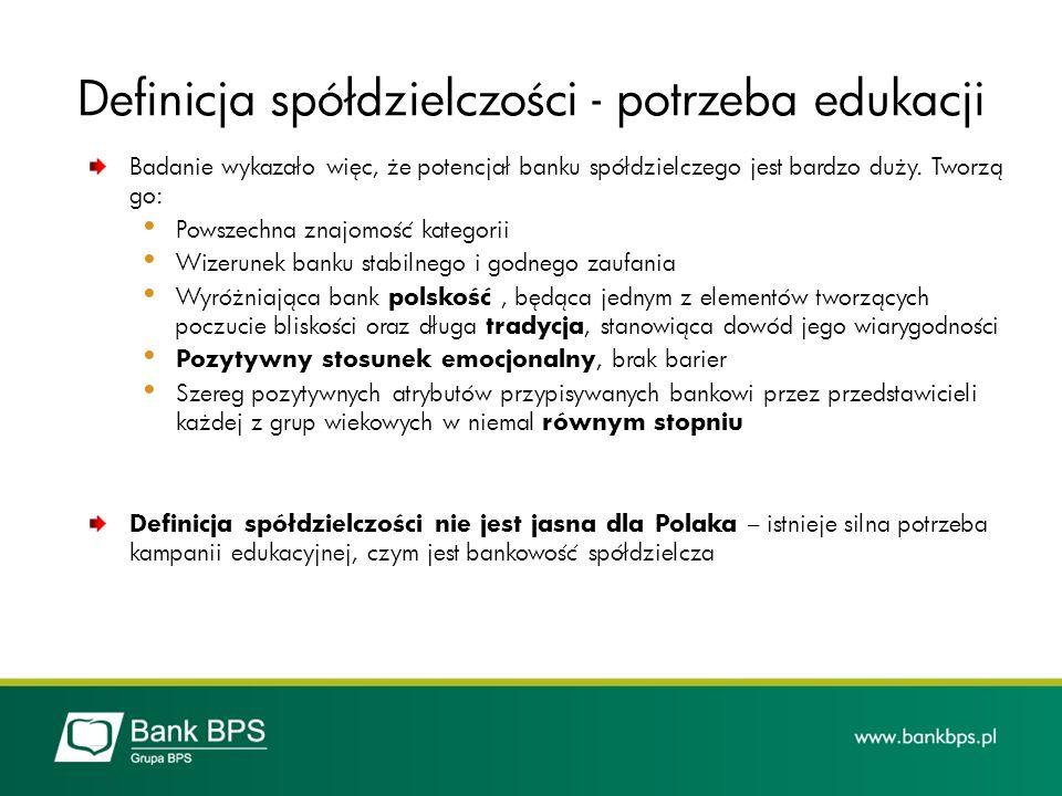 Definicja spółdzielczości - potrzeba edukacji Badanie wykazało więc, że potencjał banku spółdzielczego jest bardzo duży. Tworzą go: Powszechna znajomo