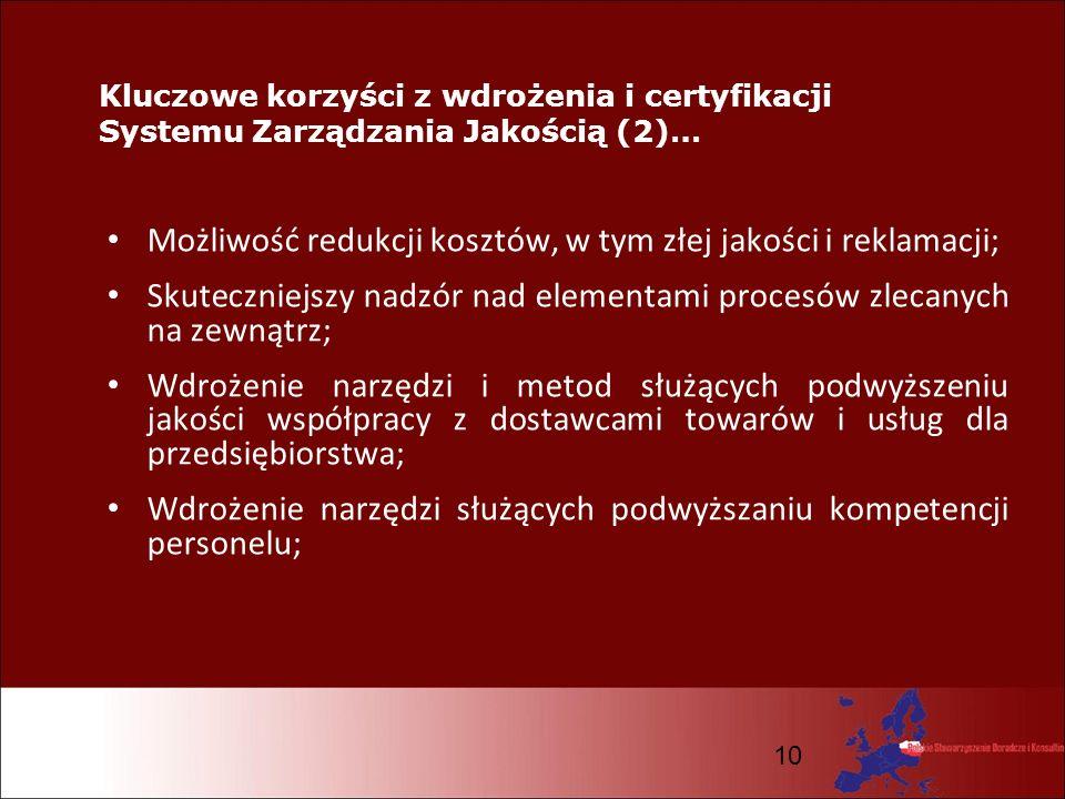 10 Kluczowe korzyści z wdrożenia i certyfikacji Systemu Zarządzania Jakością (2)… Możliwość redukcji kosztów, w tym złej jakości i reklamacji; Skutecz