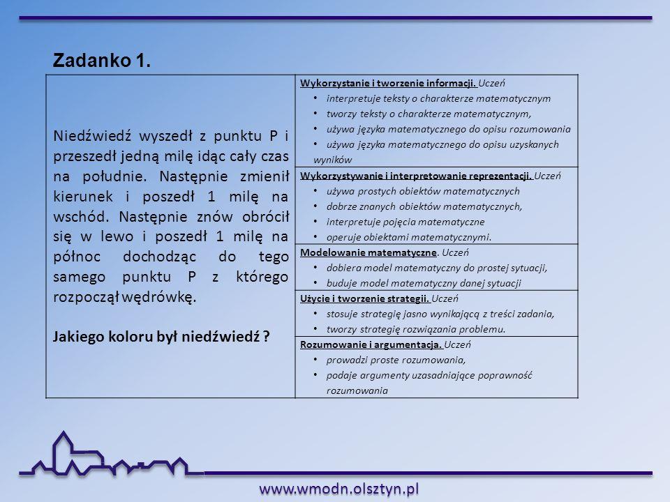 www.wmodn.olsztyn.pl Zadanko 1. Niedźwiedź wyszedł z punktu P i przeszedł jedną milę idąc cały czas na południe. Następnie zmienił kierunek i poszedł