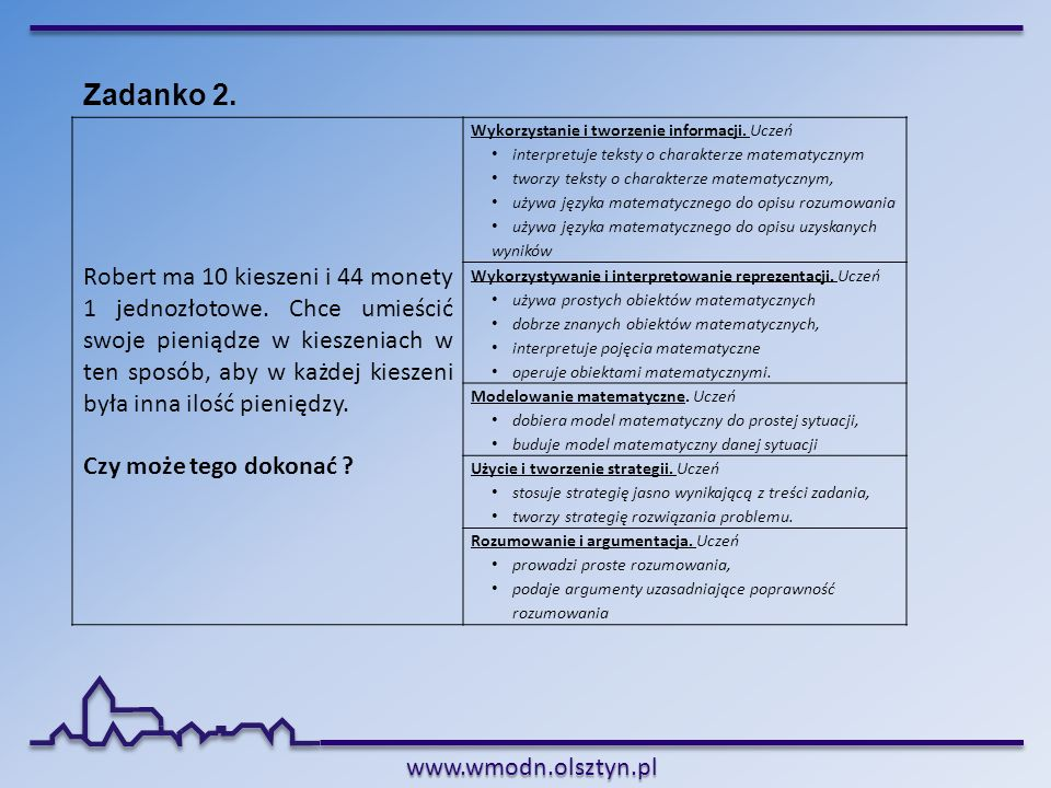 www.wmodn.olsztyn.pl Zadanko 2. Robert ma 10 kieszeni i 44 monety 1 jednozłotowe. Chce umieścić swoje pieniądze w kieszeniach w ten sposób, aby w każd