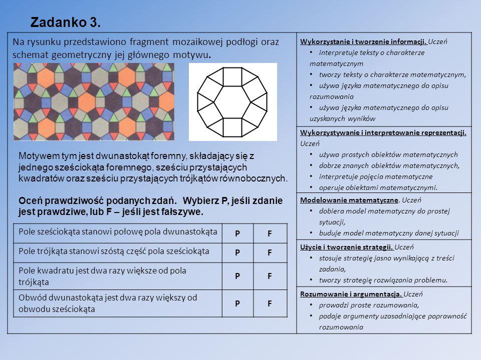 Zadanko 3. Na rysunku przedstawiono fragment mozaikowej podłogi oraz schemat geometryczny jej głównego motywu. Wykorzystanie i tworzenie informacji. U