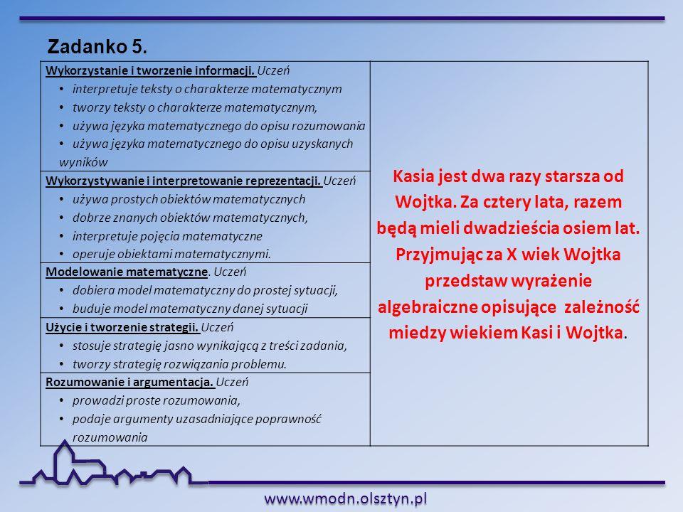 www.wmodn.olsztyn.pl Wykorzystanie i tworzenie informacji. Uczeń interpretuje teksty o charakterze matematycznym tworzy teksty o charakterze matematyc