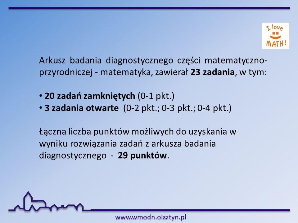 www.wmodn.olsztyn.pl Arkusz badania diagnostycznego części matematyczno- przyrodniczej - matematyka, zawierał 23 zadania, w tym: 20 zadań zamkniętych