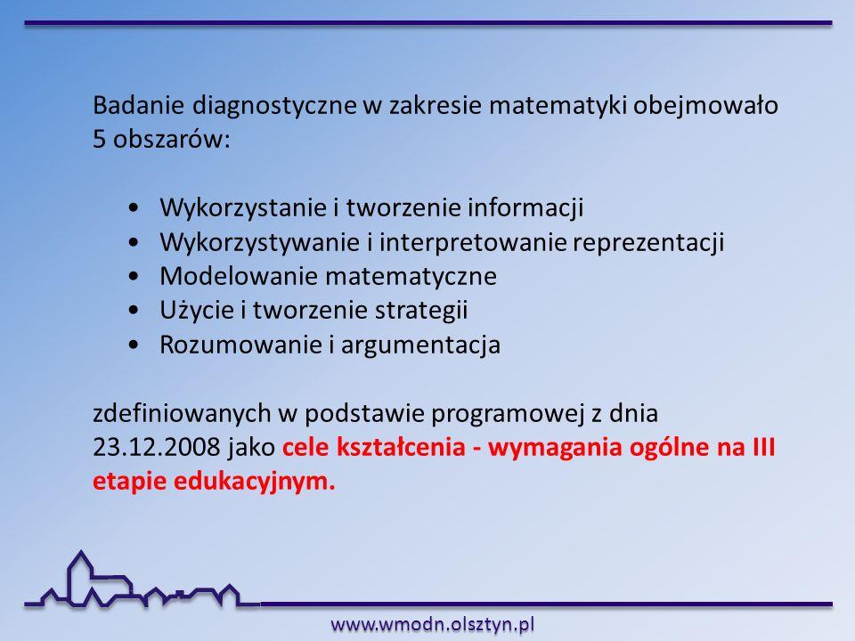 www.wmodn.olsztyn.pl Badanie diagnostyczne w zakresie matematyki obejmowało 5 obszarów: Wykorzystanie i tworzenie informacji Wykorzystywanie i interpr