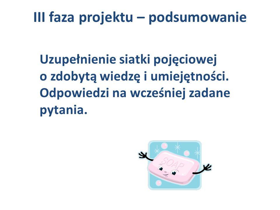 III faza projektu – podsumowanie Uzupełnienie siatki pojęciowej o zdobytą wiedzę i umiejętności. Odpowiedzi na wcześniej zadane pytania.