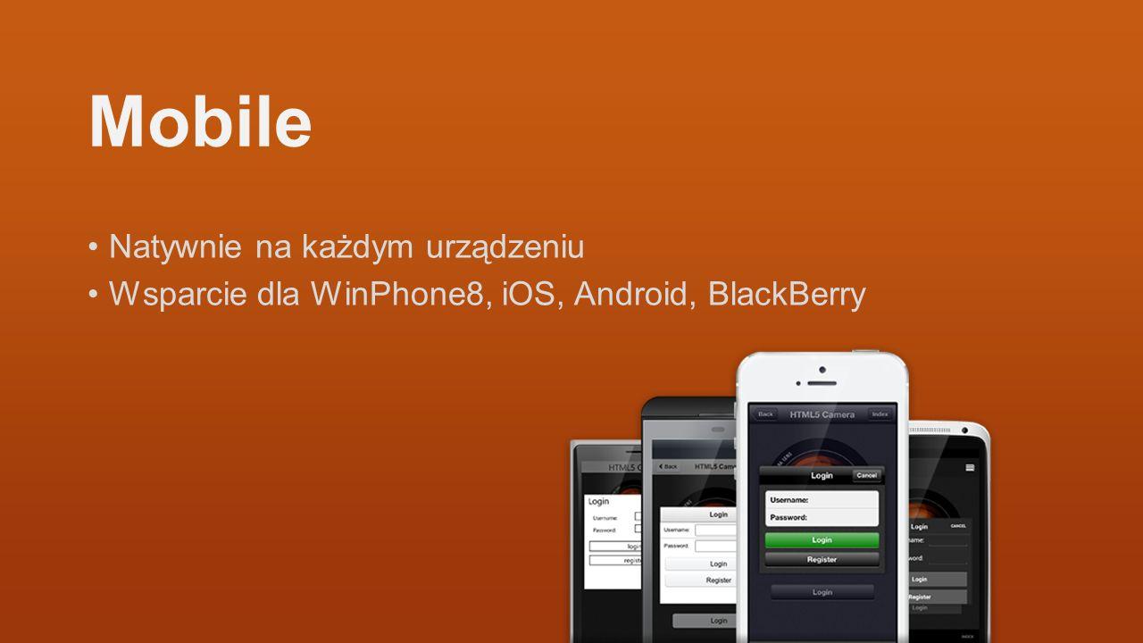 Mobile Natywnie na każdym urządzeniu Wsparcie dla WinPhone8, iOS, Android, BlackBerry