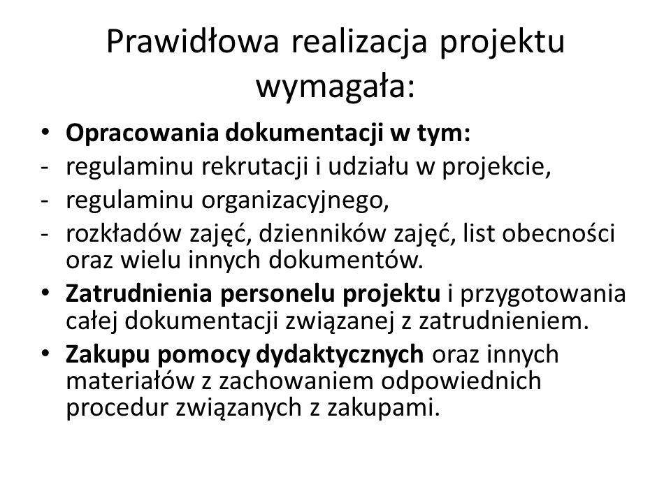 Prawidłowa realizacja projektu wymagała: Opracowania dokumentacji w tym: -regulaminu rekrutacji i udziału w projekcie, -regulaminu organizacyjnego, -r