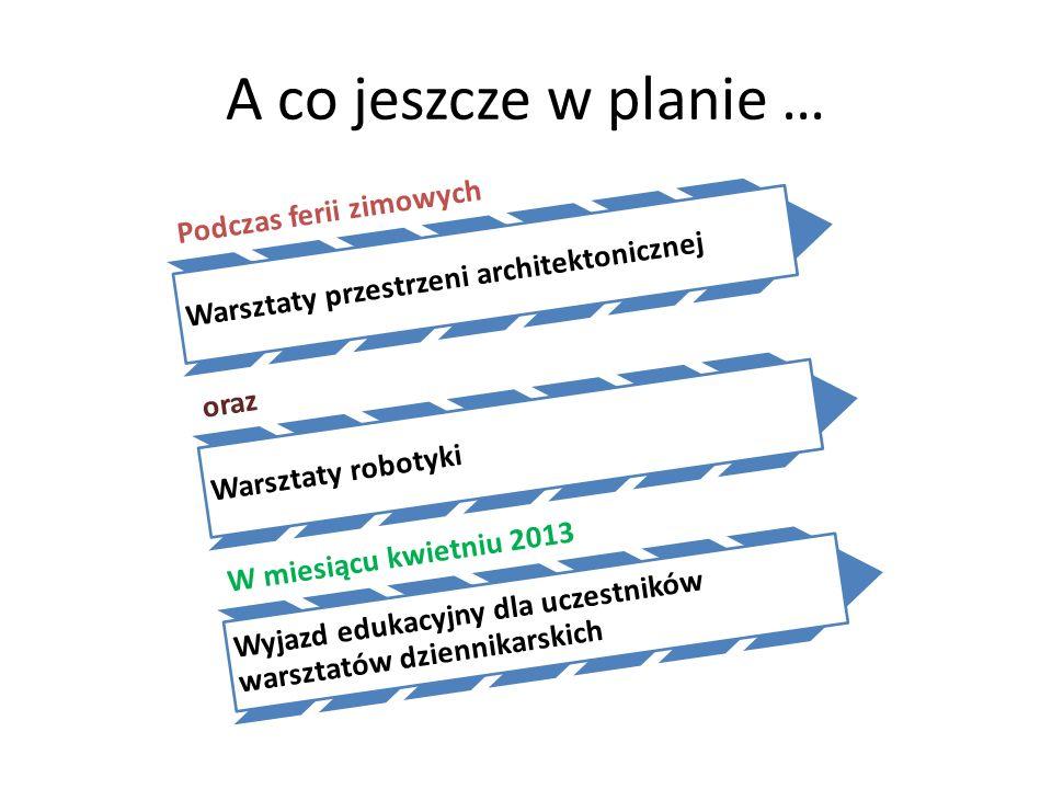 A co jeszcze w planie … Podczas ferii zimowych Warsztaty przestrzeni architektonicznej oraz Warsztaty robotyki W miesiącu kwietniu 2013 Wyjazd edukacy