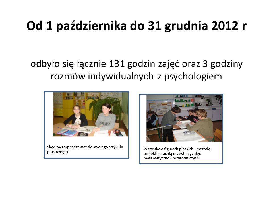 Od 1 października do 31 grudnia 2012 r odbyło się łącznie 131 godzin zajęć oraz 3 godziny rozmów indywidualnych z psychologiem Skąd zaczerpnąć temat d