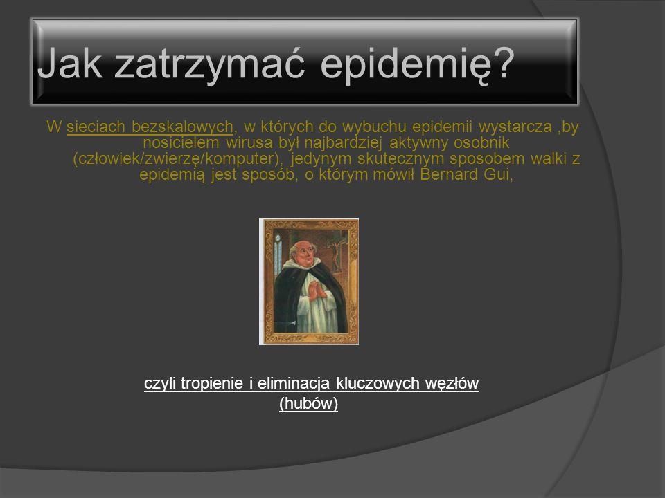 W sieciach bezskalowych, w których do wybuchu epidemii wystarcza,by nosicielem wirusa był najbardziej aktywny osobnik (człowiek/zwierzę/komputer), jed