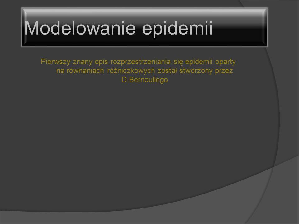 Pierwszy znany opis rozprzestrzeniania się epidemii oparty na równaniach różniczkowych został stworzony przez D.Bernoullego Modelowanie epidemii