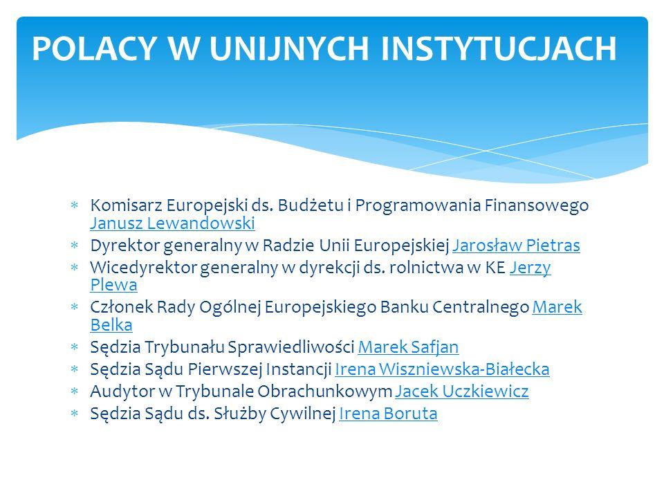 Komisarz Europejski ds. Budżetu i Programowania Finansowego Janusz Lewandowski Janusz Lewandowski Dyrektor generalny w Radzie Unii Europejskiej Jarosł