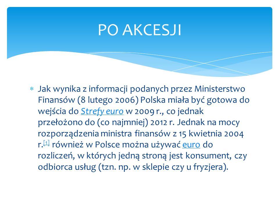 Jak wynika z informacji podanych przez Ministerstwo Finansów (8 lutego 2006) Polska miała być gotowa do wejścia do Strefy euro w 2009 r., co jednak pr