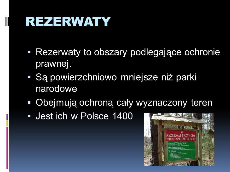 REZERWATY Rezerwaty to obszary podlegające ochronie prawnej. Są powierzchniowo mniejsze niż parki narodowe Obejmują ochroną cały wyznaczony teren Jest
