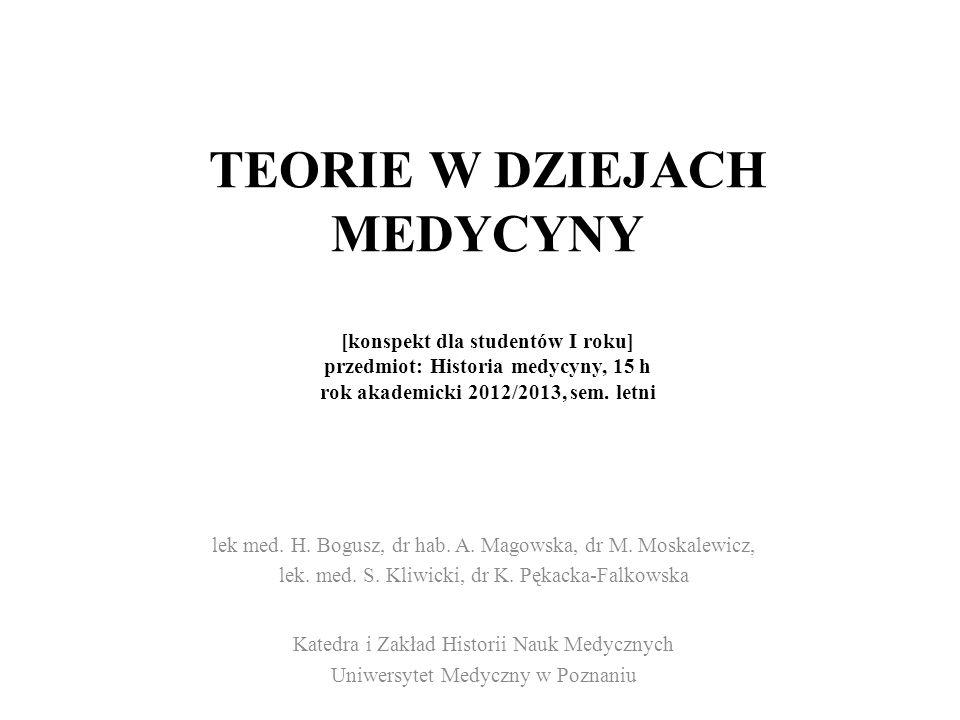 TEORIE W DZIEJACH MEDYCYNY [konspekt dla studentów I roku] przedmiot: Historia medycyny, 15 h rok akademicki 2012/2013, sem. letni lek med. H. Bogusz,