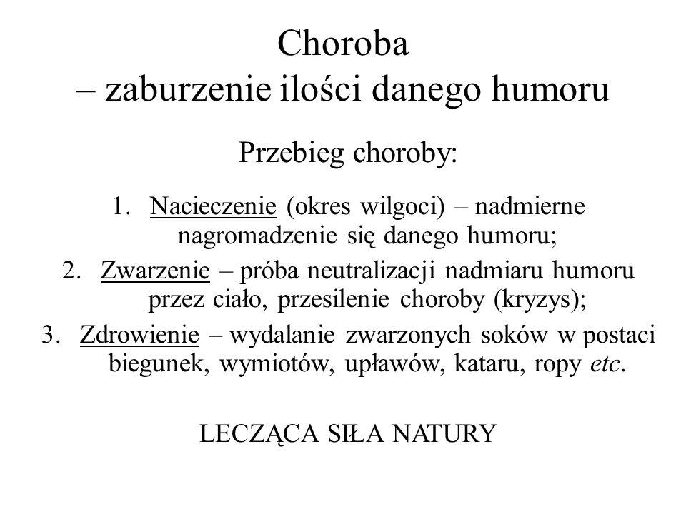Choroba – zaburzenie ilości danego humoru Przebieg choroby: 1.Nacieczenie (okres wilgoci) – nadmierne nagromadzenie się danego humoru; 2.Zwarzenie – p
