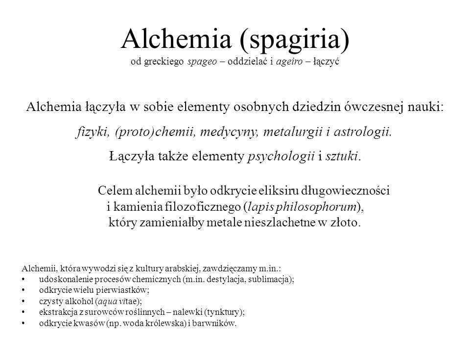 Alchemia (spagiria) od greckiego spageo – oddzielać i ageiro – łączyć Alchemia łączyła w sobie elementy osobnych dziedzin ówczesnej nauki: fizyki, (pr