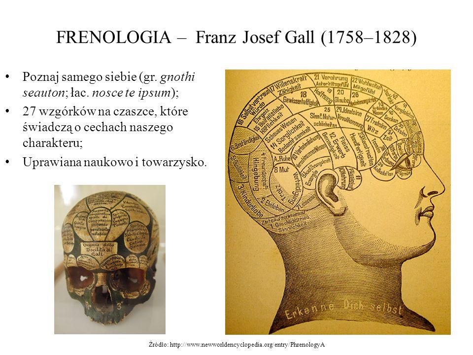 FRENOLOGIA – Franz Josef Gall (1758–1828) Poznaj samego siebie (gr. gnothi seauton; łac. nosce te ipsum); 27 wzgórków na czaszce, które świadczą o cec
