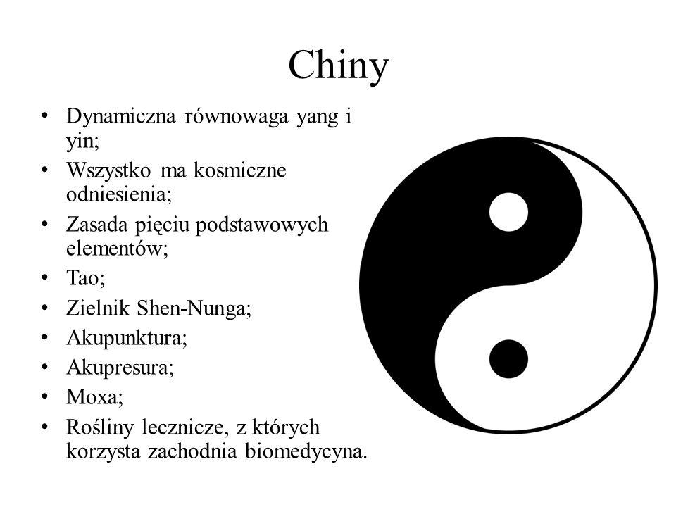 Chiny Dynamiczna równowaga yang i yin; Wszystko ma kosmiczne odniesienia; Zasada pięciu podstawowych elementów; Tao; Zielnik Shen-Nunga; Akupunktura;